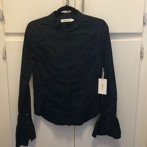 FRAME black blouse with flared sleeves
